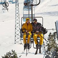Couple riding on a ski lift